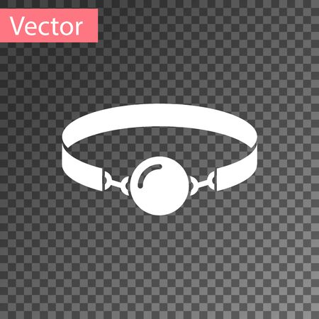 White Silicone ball gag with a leather belt icon isolated on transparent background. Fetish accessory. Sex toy for men and woman. Vector Illustration