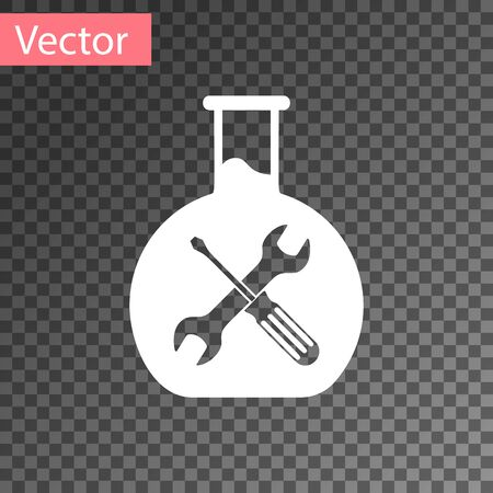 White Bioengineering with screwdriver and wrench icon isolated on transparent background. Adjusting, service, setting, maintenance, repair, fixing. Vector Illustration