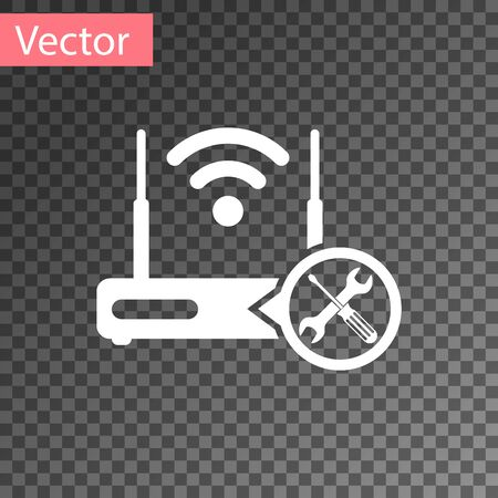 White Router wi-fi with screwdriver and wrench icon isolated on transparent background. Adjusting, service, setting, maintenance, repair, fixing. Vector Illustration