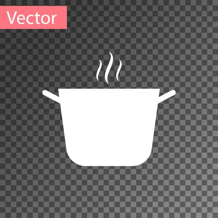 White Cooking pot icon isolated on transparent background. Boil or stew food symbol. Vector Illustration
