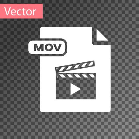 White MOV file document. Download mov button icon isolated on transparent background. MOV file symbol. Audio and video collection. Vector Illustration 矢量图像