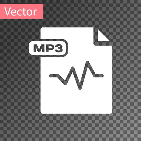 White MP3 file document. Download mp3 button icon isolated on transparent background. Mp3 music format sign. MP3 file symbol. Vector Illustration Vettoriali