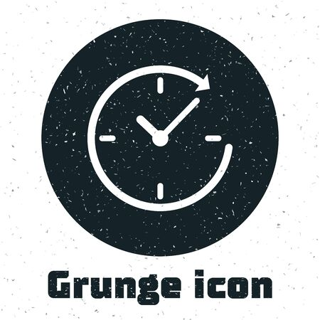 Grunge Clock with arrow icon isolated on white background. Time symbol. Clockwise rotation icon arrow and time. Vector Illustration