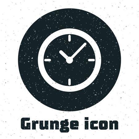 Grunge Clock icon isolated on white background. Vector Illustration