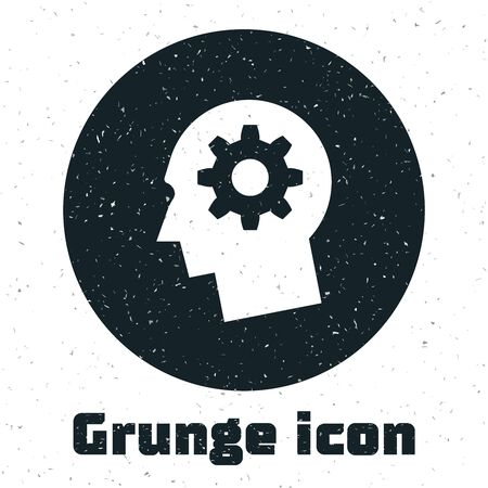 Grunge Human head with gear inside icon isolated on white background. Artificial intelligence. Thinking brain sign. Symbol work of brain. Vector Illustration