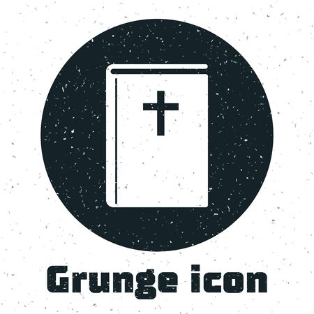 Grunge Holy bible book icon isolated on white background. Vector Illustration
