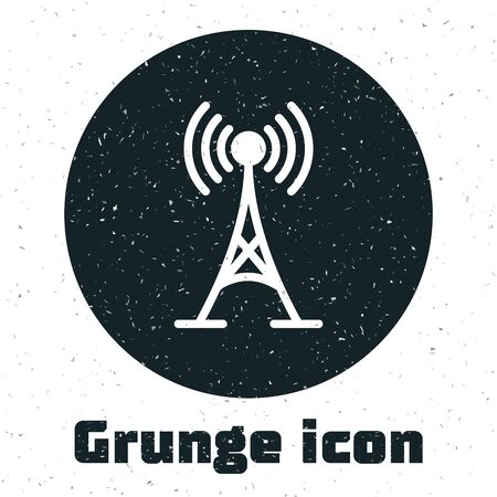 Grunge Antenna icon isolated on white background. Radio antenna wireless. Technology and network signal radio antenna. Vector Illustration