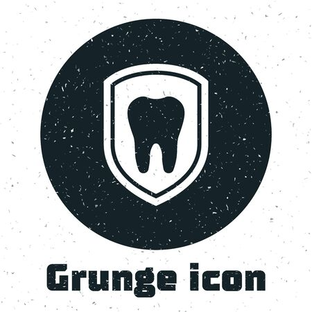 Grunge Dental protection icon isolated on white background. Tooth on shield logo icon. Vector Illustration