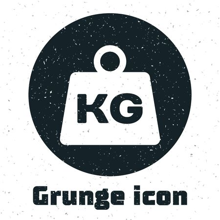 Grunge Weight icon isolated on white background. Kilogram weight block for weight lifting and scale. Mass symbol. Vector Illustration Illustration