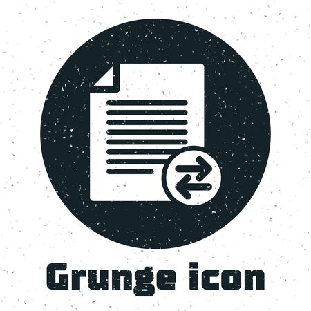 Grunge Transfer files icon isolated on white background. Copy files, data exchange, backup, PC migration, file sharing concepts.  Vector Illustration