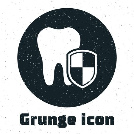 Grunge Dental protection icon isolated on white background. Tooth on shield logo. Vector Illustration