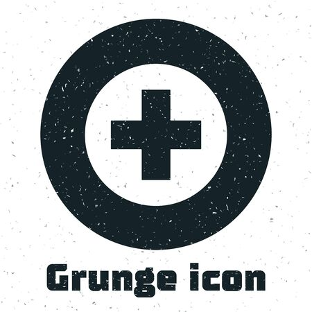 Grunge Medical cross in circle icon isolated on white background. First aid medical symbol. Vector Illustration Ilustração