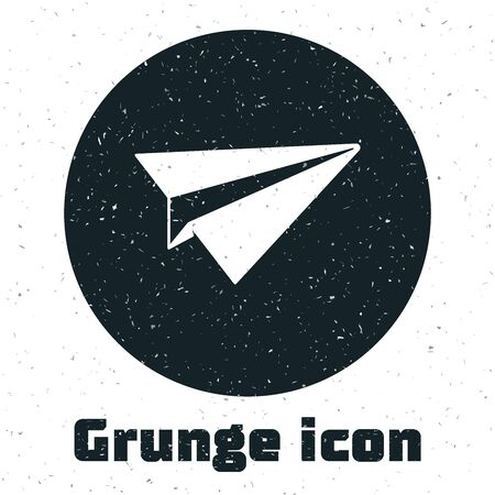Grunge Paper plane icon isolated on white background. Paper airplane icon. Aircraft sign. Vector Illustration
