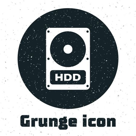 Grunge Hard disk drive HDD icon isolated on white background. Vector Illustration