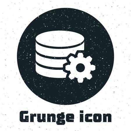 Grunge Setting database server icon isolated on white background. Database Center. Vector Illustration Illusztráció