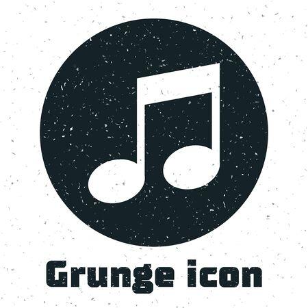 Grunge Music note, tone icon isolated on white background. Vector Illustration