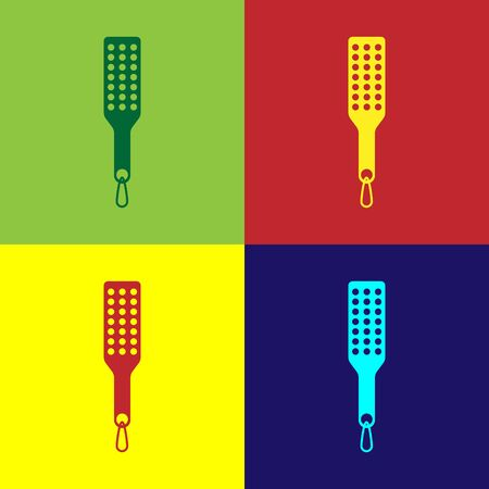 Color Spanking paddle icon isolated on color background. Fetish accessory. Sex toy for adult. Vector Illustration