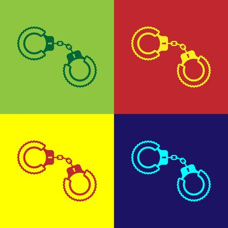 Color Sexy fluffy handcuffs icon isolated on color background. Handcuffs with fur. Fetish accessory. Sex shop stuff for sadist and masochist. Vector Illustration