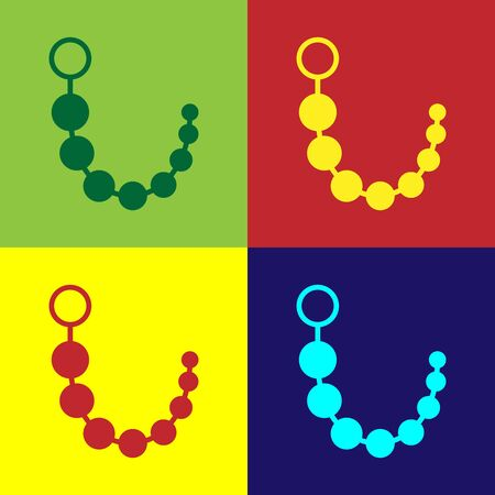 Color Anal beads icon isolated on color background. Anal balls sign. Fetish accessory. Sex toy for men and woman. Vector Illustration