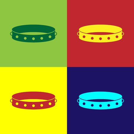 Color Leather fetish collar with metal spikes on surface icon isolated on color background. Fetish accessory. Sex toy for men and woman. Vector Illustration Illustration