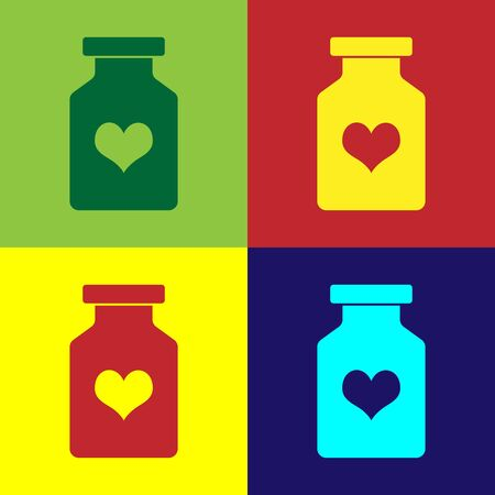 Color Medicine bottle with pills for potency, aphrodisiac icon isolated on color background. Sex pills for men and women. Vector Illustration Vectores