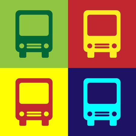 Color Bus icon isolated on color background. Transportation concept. Bus tour transport sign. Tourism or public vehicle symbol. Vector Illustration