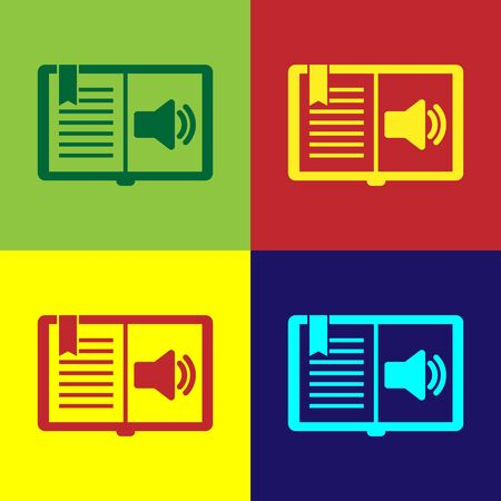 Color Audio book icon isolated on color background. Audio guide sign. Online learning concept. Vector Illustration