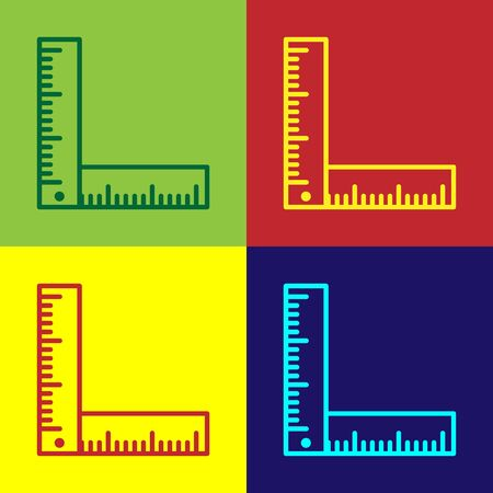 Color Folding ruler icon isolated on color background. Vector Illustration