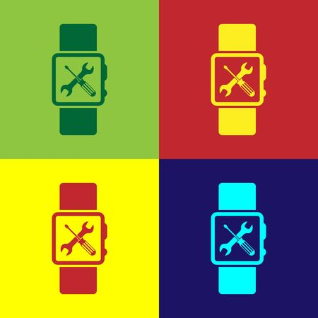 Color Smartwatch with screwdriver and wrench icon isolated on color background. Adjusting, service, setting, maintenance, repair, fixing. Vector Illustration Vettoriali