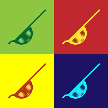 Color Kitchen colander icon isolated on color background. Cooking utensil. Cutlery sign. Vector Illustration