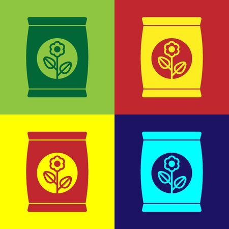 Color Fertilizer bag icon isolated on color background. Vector Illustration Vettoriali