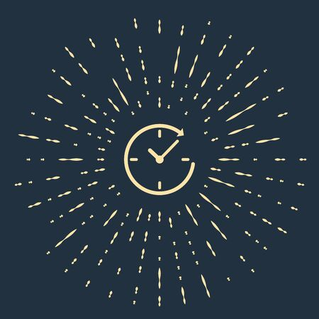 Beige Clock with arrow icon isolated on dark blue background. Time symbol. Clockwise rotation icon arrow and time. Abstract circle random dots. Vector Illustration