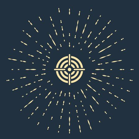 Beige Target sport for shooting competition icon isolated on dark blue background. Clean target with numbers for shooting range or pistol shooting. Abstract circle random dots. Vector Illustration