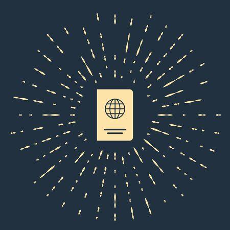 Beige Passport with biometric data icon isolated on dark blue background. Identification Document. Abstract circle random dots. Vector Illustration Illustration