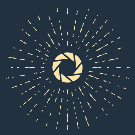 Beige Camera shutter icon isolated on dark blue background. Abstract circle random dots. Vector Illustration 向量圖像