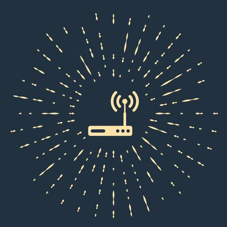 Beige Router and wi-fi signal symbol icon isolated on dark blue background. Wireless ethernet modem router. Computer technology internet. Abstract circle random dots. Vector Illustration Illustration