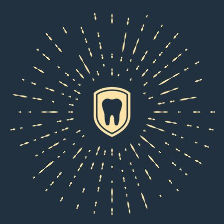 Beige Dental protection icon isolated on dark blue background. Tooth on shield logo icon. Abstract circle random dots. Vector Illustration