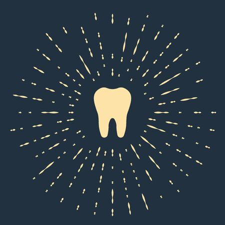 Beige Tooth icon isolated on dark blue background. Tooth symbol for dentistry clinic or dentist medical center and toothpaste package. Abstract circle random dots. Vector Illustration