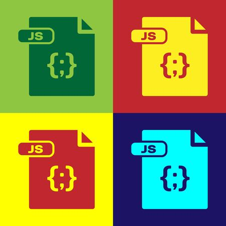 Color JS file document. Download js button icon isolated on color background. JS file symbol. Vector Illustration