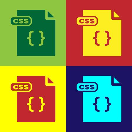 Color CSS file document. Download css button icon isolated on color background. CSS file symbol. Vector Illustration