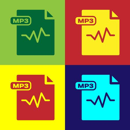 Color MP3 file document. Download mp3 button icon isolated on color background. Mp3 music format sign. MP3 file symbol. Vector Illustration Illustration