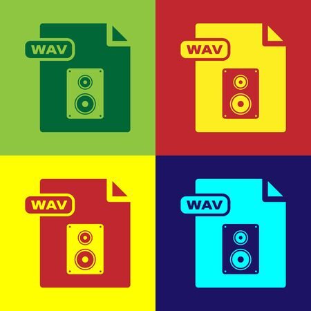 Color WAV file document. Download wav button icon isolated on color background. WAV waveform audio file format for digital audio riff files. Vector Illustration