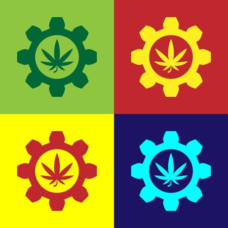 Color Chemical test tube with marijuana or cannabis leaf icon isolated on color background. Research concept. Laboratory CBD oil concept. Vector Illustration