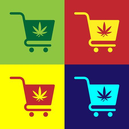 Color Shopping cart with marijuana or cannabis leaf icon isolated on color background. Online buying. Delivery service. Supermarket basket. Vector Illustration 일러스트