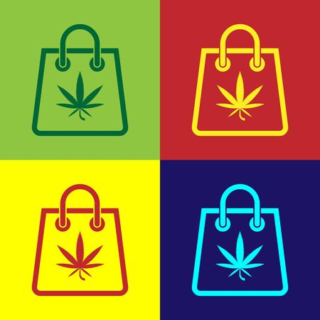 Color Shopping paper bag of medical marijuana or cannabis leaf icon isolated on color background. Buying cannabis. Hemp symbol. Vector Illustration
