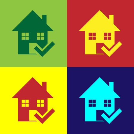 Color House with check mark icon isolated on color background. Real estate agency or cottage town elite class. Vector Illustration