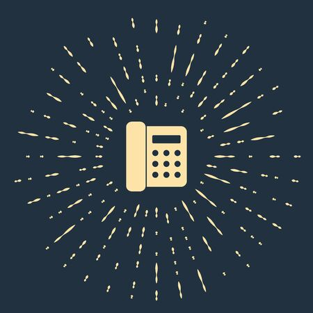 Beige Telephone icon isolated on dark blue background. Landline phone. Abstract circle random dots. Vector Illustration