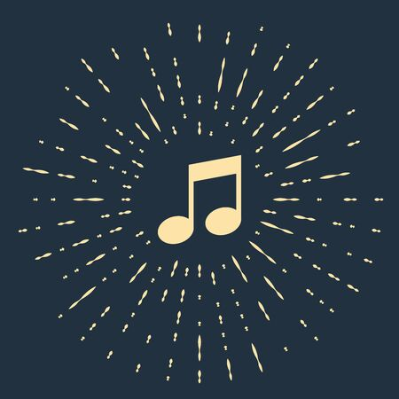 Beige Music note, tone icon isolated on dark blue background. Abstract circle random dots. Vector Illustration