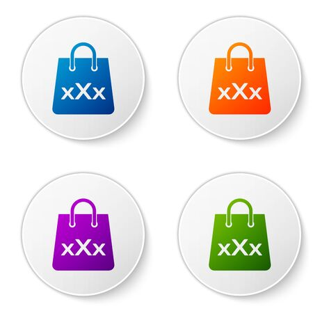 Color Shopping bag with a triple X icon isolated on white background. Set icons in circle buttons. Vector Illustration