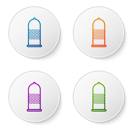 Color Condom safe icon isolated on white background. Safe love symbol. Contraceptive method for male. Set icons in circle buttons. Vector Illustration
